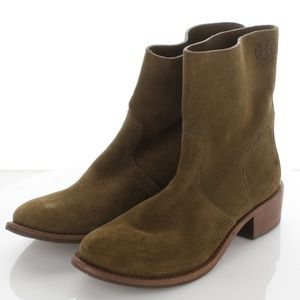 TORY BURCH Siena River Rock Suede Ankle Boots